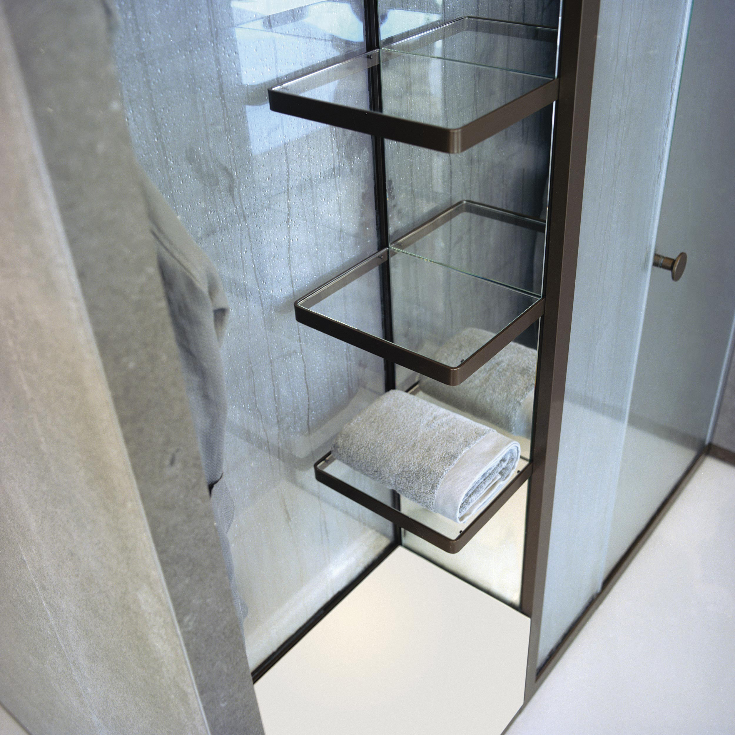 5 - External Storage Shelves With Glass Shelves And Mirrored Wall