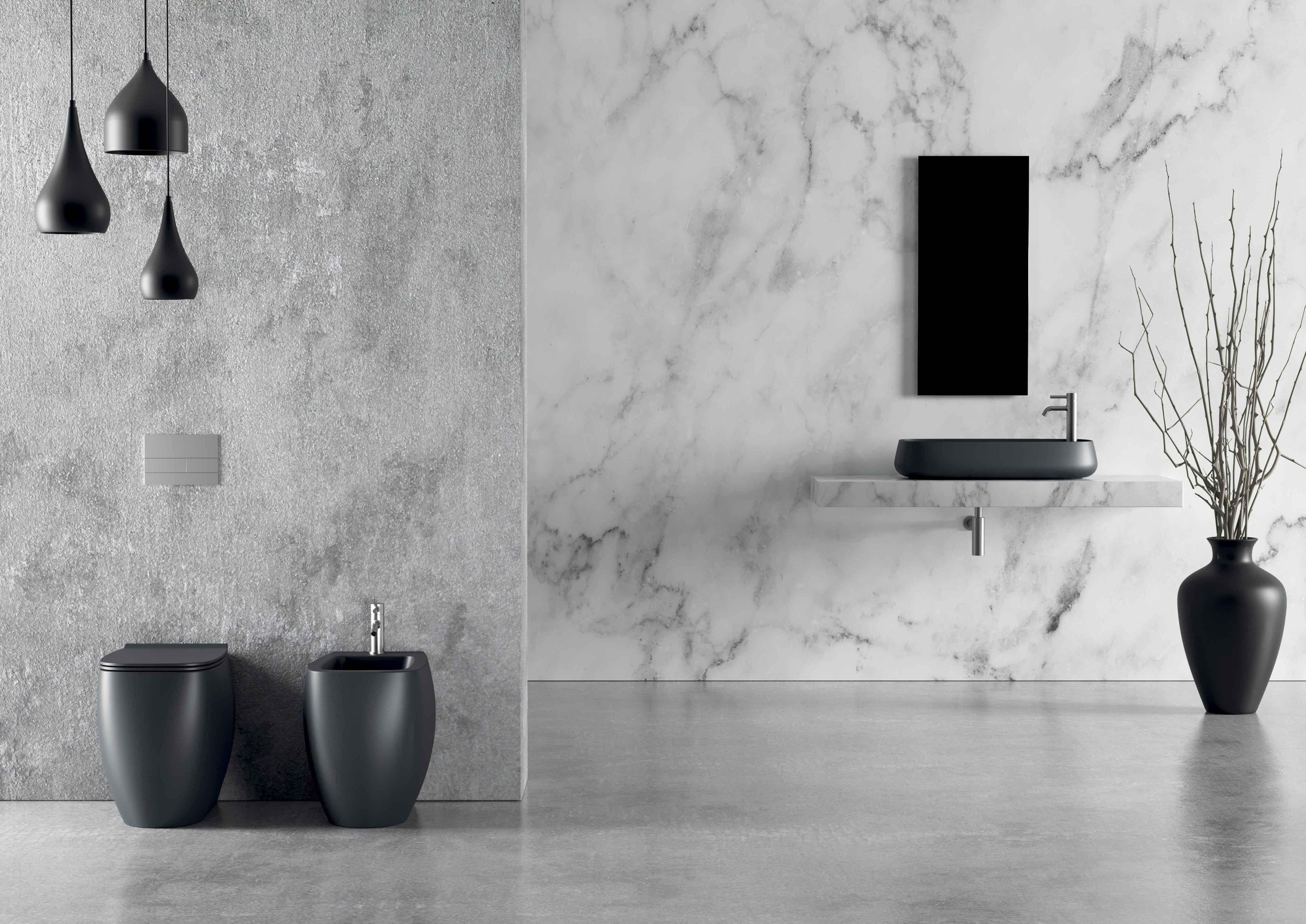 1 - Nur Washbasin 80 x 40cm Plan, WC Nur _ Bidet Nur